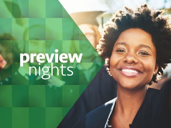 photo of smiling students with preview nights in green arrow